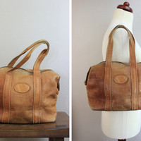 Vintage Brown Leather Mini Duffel Bag