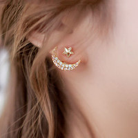 Star With Crescent Two Way Earrings
