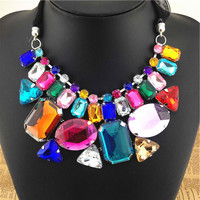 Women Semi-Precious Stones Fashion Crystal Necklace