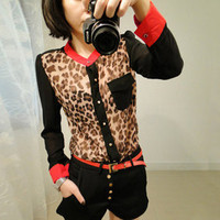 Fashion Cool Women Girl Leopard Print see-through sexy Chiffon Tops Shirt Blouse