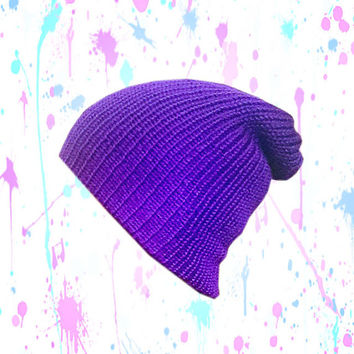 Neon Purple Beanie - knit, semi slouchy, snug fit - double layered - Womens, teens, mens accessories - available in additional colors