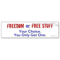 Freedom or Free Stuff Bumper Stickers from Zazzle.com