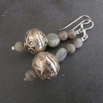 Labradorite Beaded Earrings, Dangle Gemstones Women Jewelry