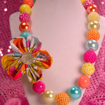 Rainbow Flower Necklace, Chunky Beaded Necklace, Christmas  Boutique Jewelry