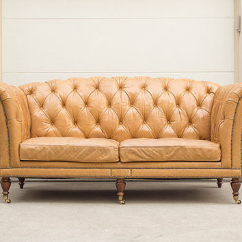 high back grand waxed leather tufted from homesteadseattle on. Black Bedroom Furniture Sets. Home Design Ideas