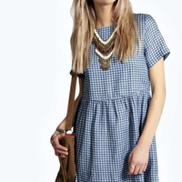Ava Woven Chambray Gingham Smock Dress