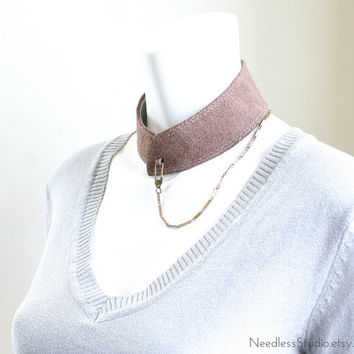 seductive women's chain collar in soft suede taupe leather and features a vintage chain and hook closure - ready made by Needless Studio