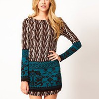 Le Ciel Printed Jumper Dress at asos.com