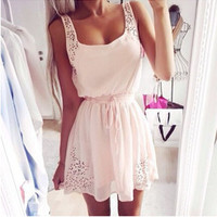 Dot hollow out white women sleeveless mini dress
