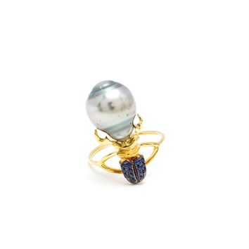 18K Yellow Gold, Sapphire and Pearl Khepri Ring - DANIELA VILLEGAS