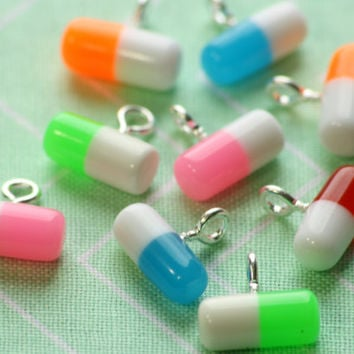 Mixed Set Pill Rx Capsule Charms 12x5.5mm (6)