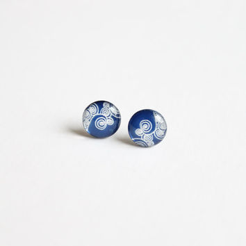 10 mm small studs, small stud earrings, blue stud earrings,blue and white, blue earrings, blue studs, blue,