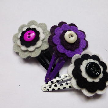 Purple Hair Clip Set - Purple Felt Flower Snap Clips for Girls - Black and White Felt Flower Hair Clips for Toddlers - Hair Accessories