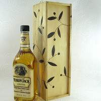 Wooden Wine Box - Wood Pyrography - BKInspired - Floral Design Liquor Gift Box