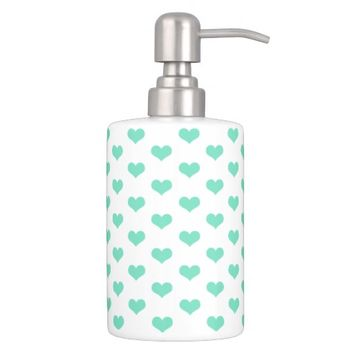 Cute Mint Hearts Pattern - Bath Set
