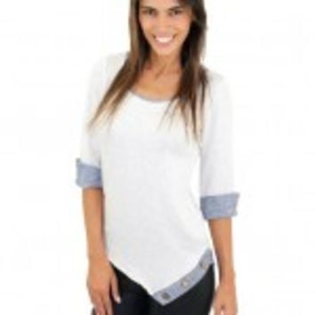 Gray And Blue Top With Buttons