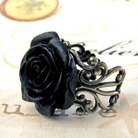 Black Tea Rose Ring  free shipping by lizhutnick on Etsy