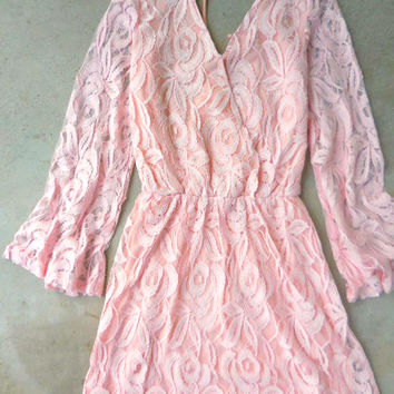 Pink Lace Bell Dress [6812] - $36.00 : Feminine, Bohemian, & Vintage Inspired Clothing at Affordable Prices, deloom