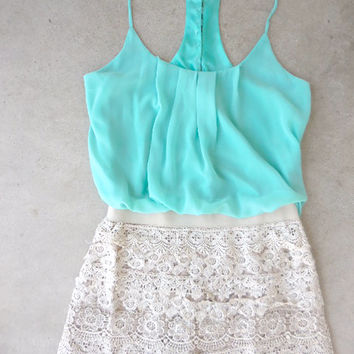 Crochet Macchiato Mint Party Romper [6809] - $44.00 : Feminine, Bohemian, & Vintage Inspired Clothing at Affordable Prices, deloom