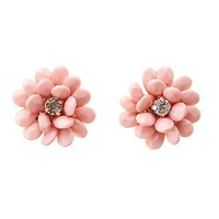 Beaded Flower Statement Earrings by Charlotte Russe - Lt Pink