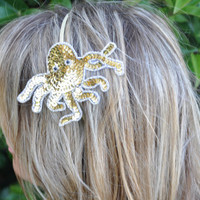 Octopus Headband Gold Sequin on Sparkly Gold by ShepherdoftheSea