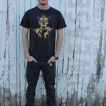 Beast T-Shirt Official Weasel Apparel Black Charcoal Wash Rugged Gold