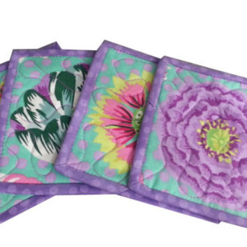 Quilted Coasters in Kaffe Fasset Summer Floral