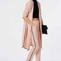 Missguided - Dolphin Hem Cropped Trousers Dusky Pink