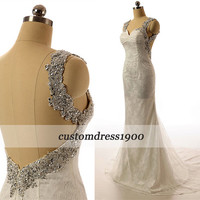Cap Sleeve Sexy Open Back Bridal Gowns Vintage Handmade Sweep Train Ivory Mermaid Lace Wedding Dress