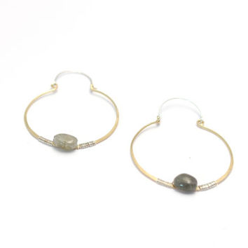 Hoop Earrings with Genuine Labradorite Gemstones-Two Toned Sterling Silver and Gold FIlled-Hand Forged