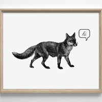 Talkative Fox, Vintage Engraving, Speech Bubble, 8 x 10 Giclee Art Print Upcled Collage Recycled Book Art Buy 2 Get 1 FREE