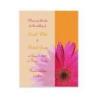 Orange &amp; Pink Gerbera Daisy Save the Date Card Announcements from Zazzle.com