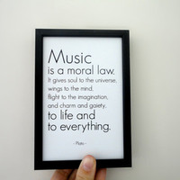 Printable Art Print Music is a Moral Law Plato Quote