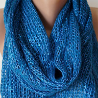 Blue, Royal blue Long Scarf