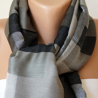 Silk Plaid Gray Scarf