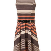 Dressrail.com - Multistripe Pleated Waistbelted Skater Dress