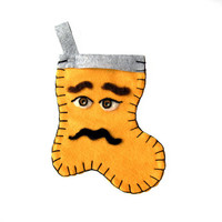 Felt Christmas Stocking - Male Face (Small)