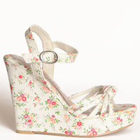 Desert Queen Floral Wedges in Cream by Chinese Laundry - $49.50 : ThreadSence.com, Your Spot For Indie Clothing  Indie Urban Culture