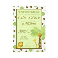 5x7 Jungle Safari Animal Baby Shower Invitation from Zazzle.com