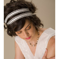Silver Lace Ribbon Tie Headband by ericaelizabeth on Etsy