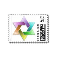 Rainbow Star of David Postage Stamp Postage Stamps from Zazzle.com