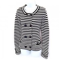 Talbots Navy Blue White Stripe Double Breasted Sweater Jacket Nautical Women's Size Medium (M)