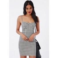 Missguided - Gingham Bust Cup Mini Dress Monochrome