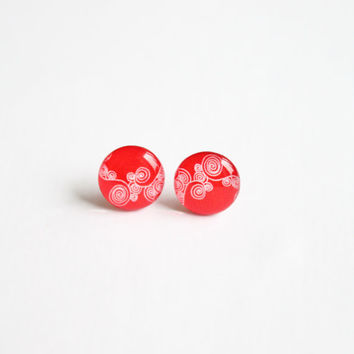 12,5 mm small studs, small stud earrings, red earrings, red studs,  valentines day studs, valentine, swirly,  red posts,red stud earrings