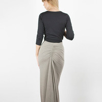 Cotton Jersey Fishtail Maxi Skirt