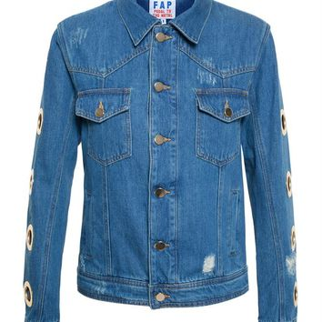 Denim Jacket with Eyelets - FILLES A PAPA