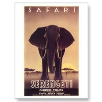 Safari-elephant-1930 Post Card from Zazzle.com