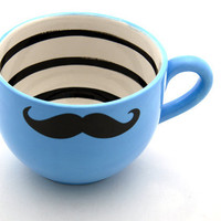 Large Moustache Mustache Mug in Turquoise Blue for by LennyMud