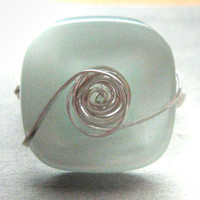 Mint Button Sterling Silver Wire Wrapped Ring