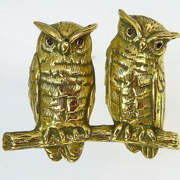 Vintage MFA Owl Brooch Owls On A Branch Figural Jewelry